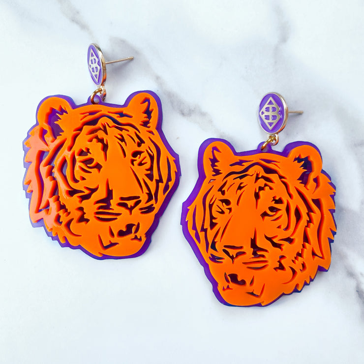 Clemson - Orange Tiger Earrings over Purple with Purple BC Logo Top