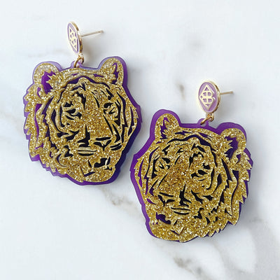 LSU - Gold Glitter Tiger Earrings over Purple with Purple Logo Top