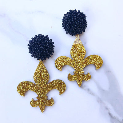 Team Colors Gold Glitter Acrylic Fleur de Lis with Black Beaded Top