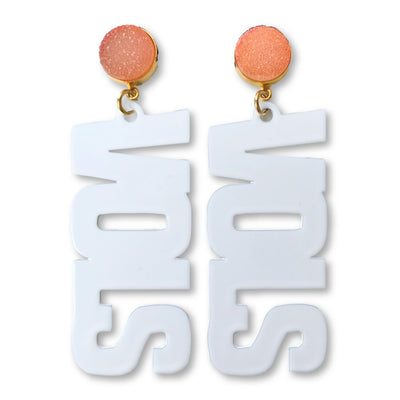 "Tennessee White ""VOLS"" Earrings with Orange Druzy"
