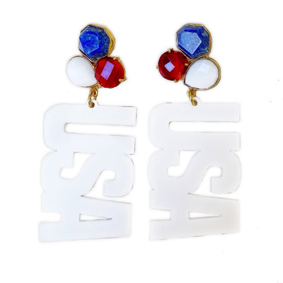 4th of July - USA 3 Gemstone Earrings