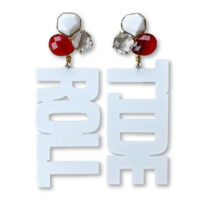 Alabama White ROLL TIDE Earrings with 3 Gemstones