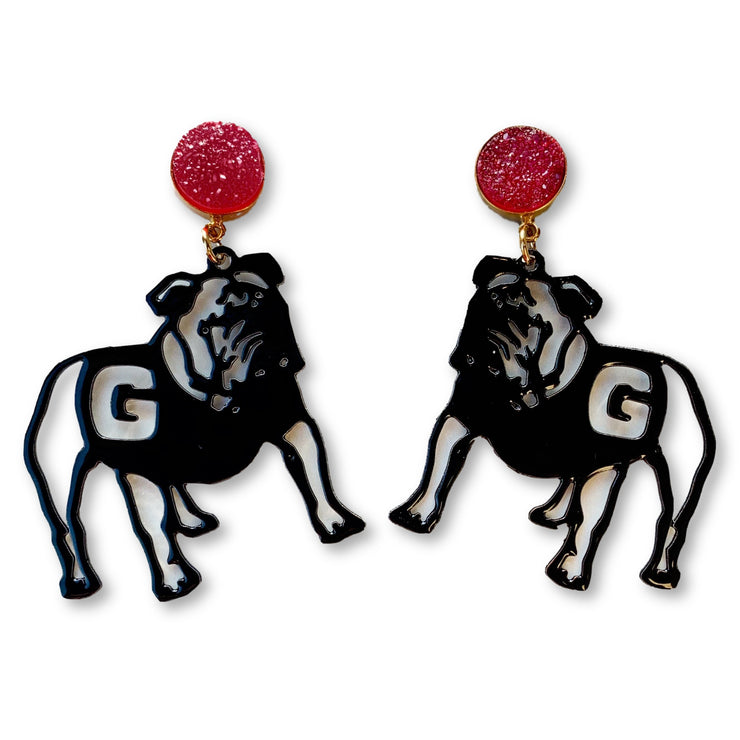 Georgia Black Bulldogs Earrings with Red Druzy