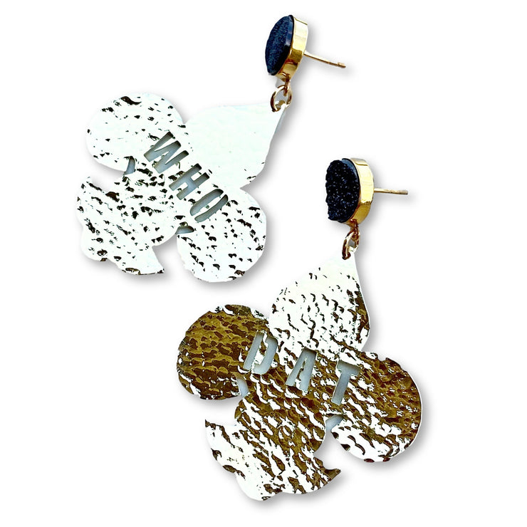 24k Gold Plated Who Dat Fleur de Lis Earrings with Black Druzy
