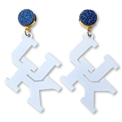 Kentucky White UK Earrings with Blue Druzy