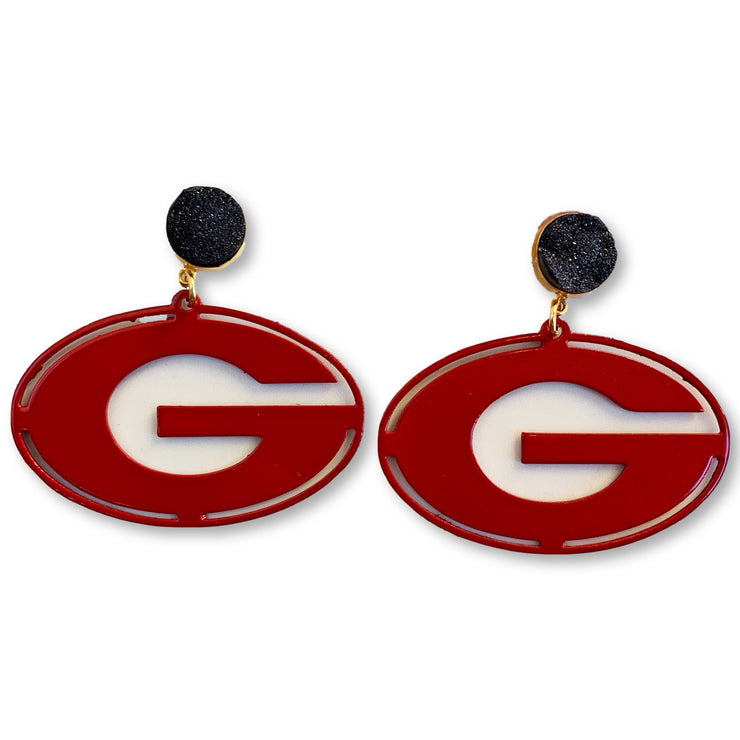 Georgia Red Power G Earrings with Black Druzy