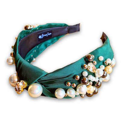 Emerald Green Knotted Headband with Pearls
