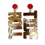 Alabama Gold ROLL TIDE Earrings with Red Druzy