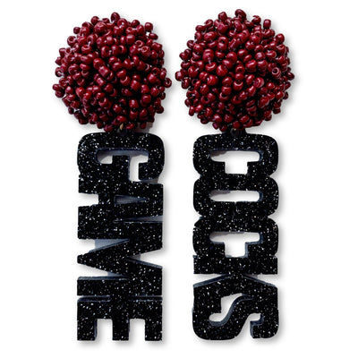 "South Carolina Black Glitter Acrylic ""GAME COCKS"" Earrings with Garnet Beaded Top"