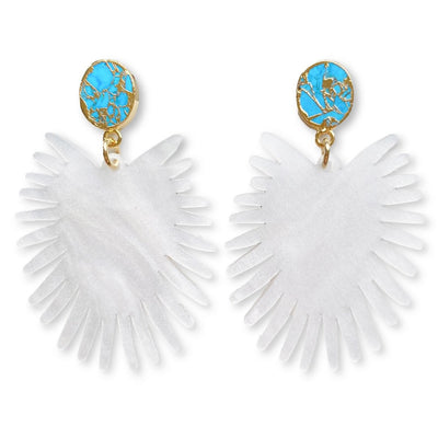 Spray Palm Earrings - White Pearl Acrylic with Gold Plated Turquoise