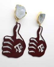 Texas A&M Maroon GIG'EM Hand Earrings with White Geode
