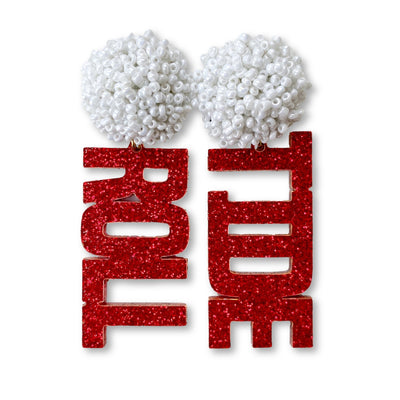 Alabama Crimson Glitter Acrylic ROLL TIDE with White Beaded Top