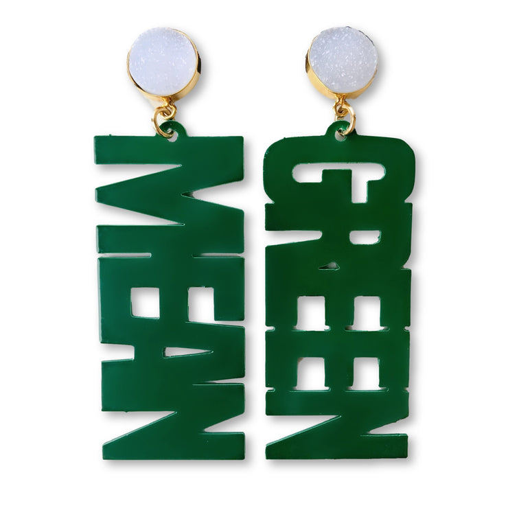 "UNT Green ""MEAN GREEN"" Earrings with White Druzy"