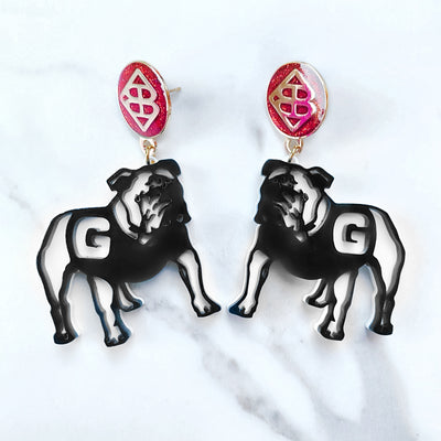 UGA - Georgia Bulldog Logo Earrings with Large Red Glitter BC Logo Top