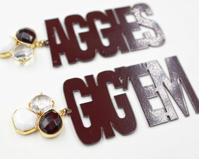 Texas A&M Maroon GIG'EM AGGIES Earrings with 3 Gemstones