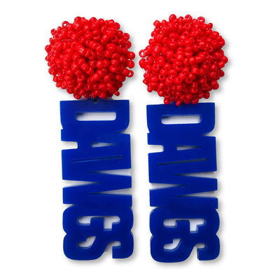 Louisiana Tech Blue DAWGS Earrings with Red Beaded Top