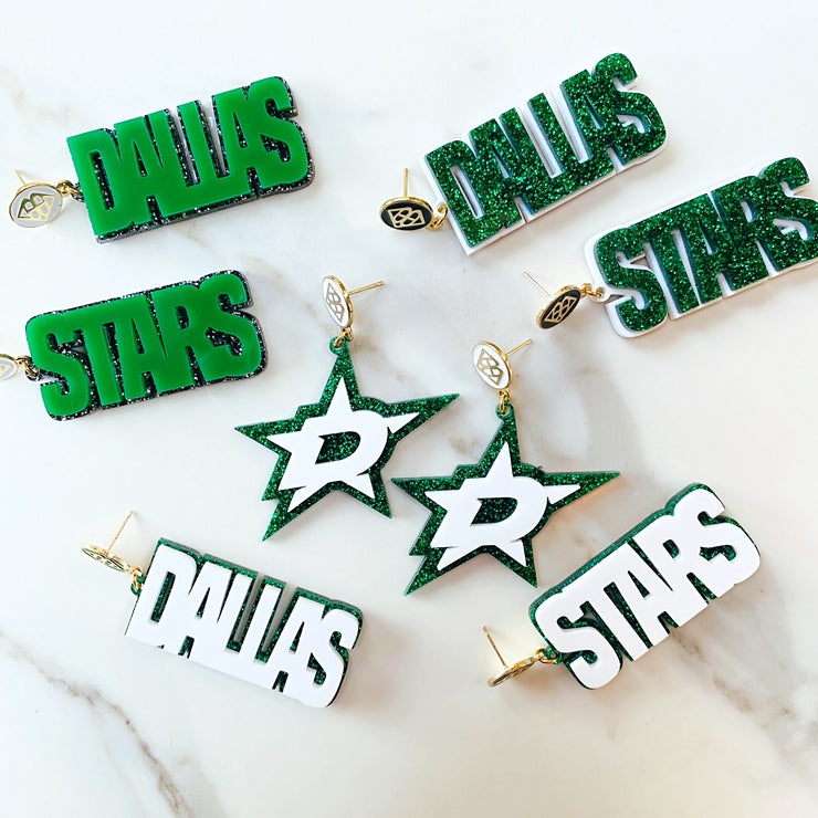 Dallas Stars - Green DALLAS STARS over Black Glitter with White Logo Top