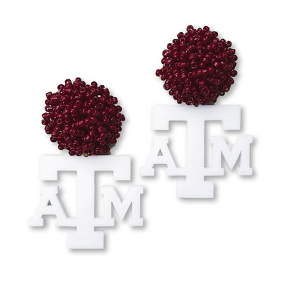 Texas A&M White Acrylic ATM Logo with Maroon Beaded Top