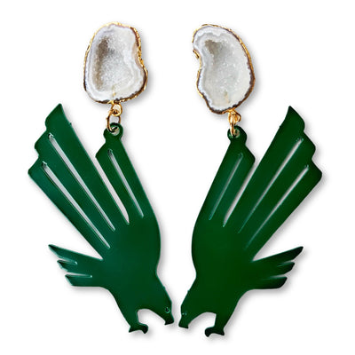 UNT Green Eagle Logo Earrings with White Geode
