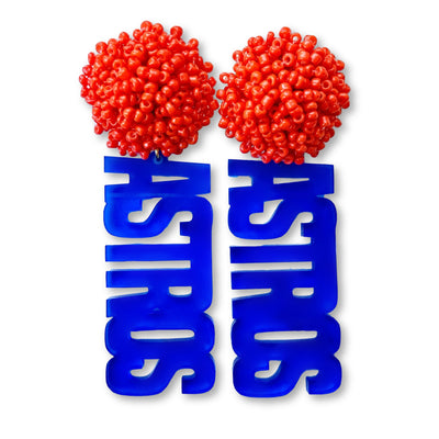 "Blue Translucent Acrylic ""ASTROS"" Earrings with Orange Beaded Top"