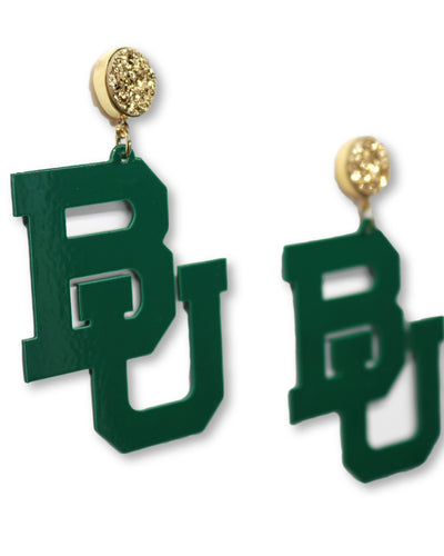 Baylor Green BU Logo Earrings with Gold Druzy