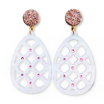 Easter Party - White Pearl Egg Earrings with Pink Swarovski Crystals