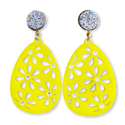 Easter Party - Yellow Egg Earrings with Clear Swarovski Crystals