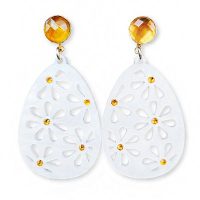 Easter Party - White Pearl Egg Earrings with Yellow Swarovski Crystals