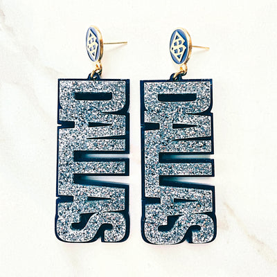 Team Colors - Silver Glitter DALLAS Earrings over Navy with Navy BC Logo Top