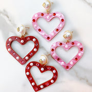 Valentine's 2021 - Heart Earrings with Pearls and Crystals (TWO COLORS)
