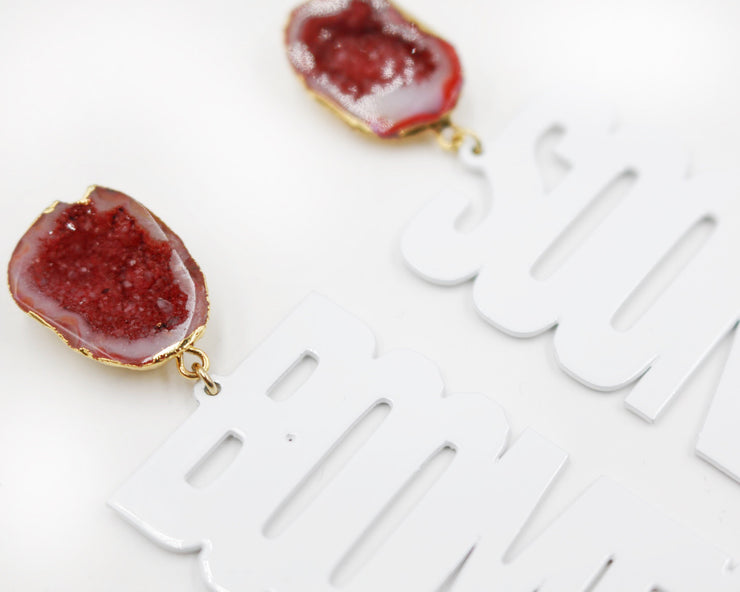"OU White ""BOOMER SOONER"" Earrings with Red Geode"