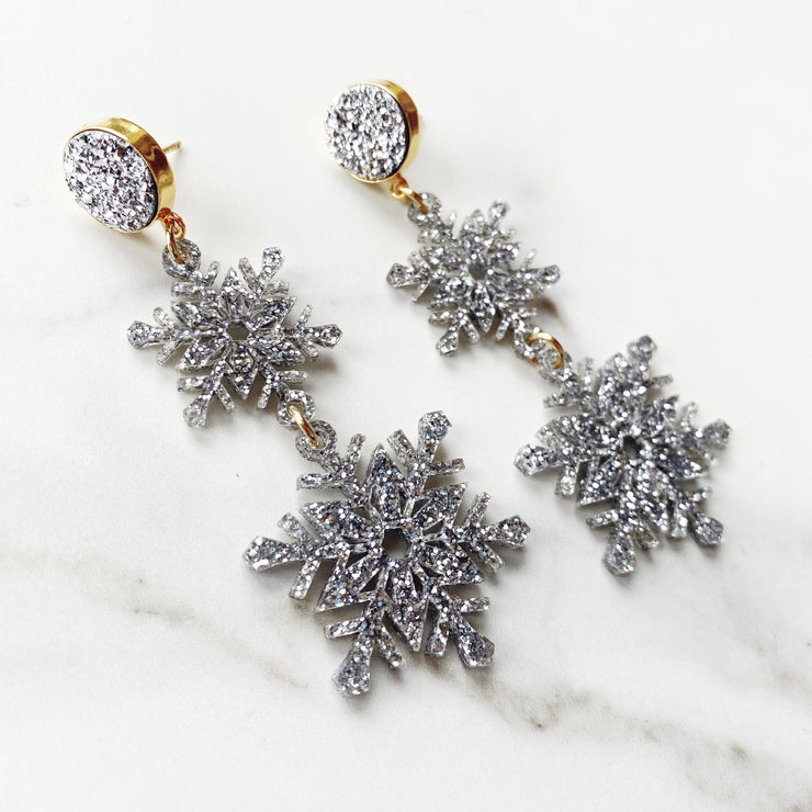 Christmas Party - Double Cascading Snowflake Earrings