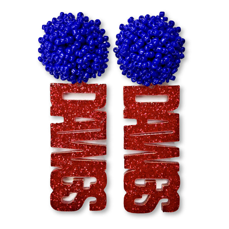 Louisiana Tech Red Glitter DAWGS Earrings with Blue Beaded Top