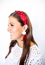 Team Colors Crimson Knotted Headband with White Crystals