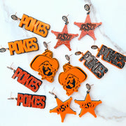 Oklahoma State - Black Glitter POKES Earrings over Orange with Black Logo Top