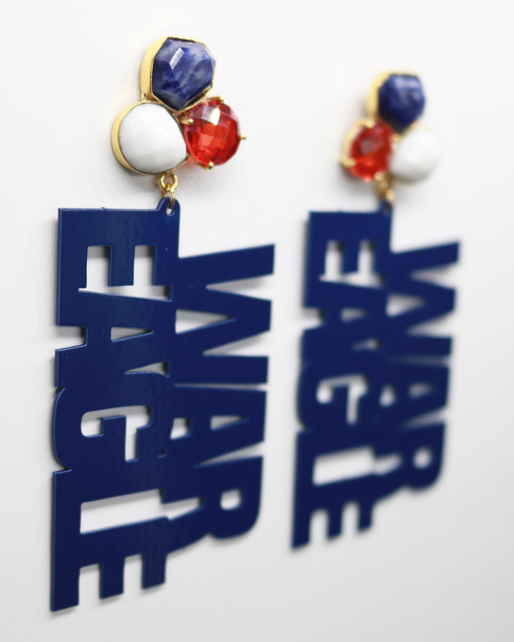 "Auburn Navy Blue ""WAR EAGLE"" Earrings with 3 Gemstones"