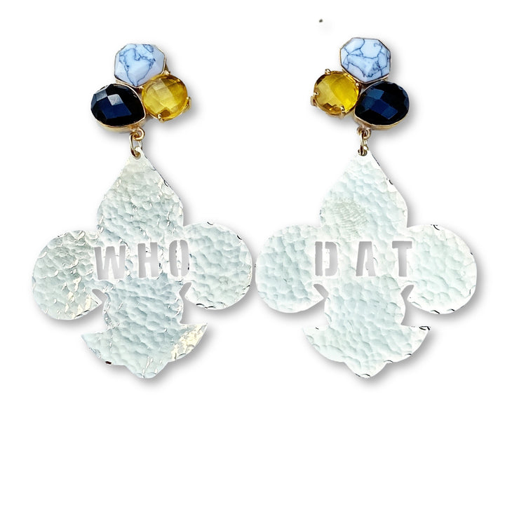 24k Gold Plated Who Dat Fleur de Lis Earrings with 3 Gemstones