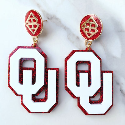 University of Oklahoma - White OU Earrings over Crimson Glitter with Large Crimson Logo Top