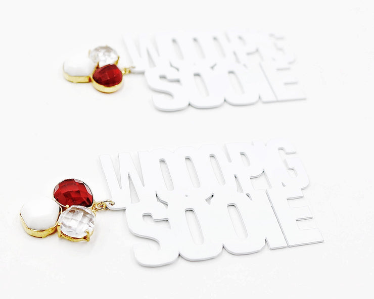 Arkansas WOOO PIG SOOIE Earrings in White with 3 Gemstones