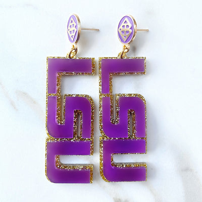 LSU - Purple LSU Earrings over Gold Glitter with Purple Logo Top
