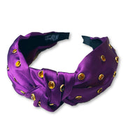 Team Colors Purple Knotted Headband with Gold Crystals