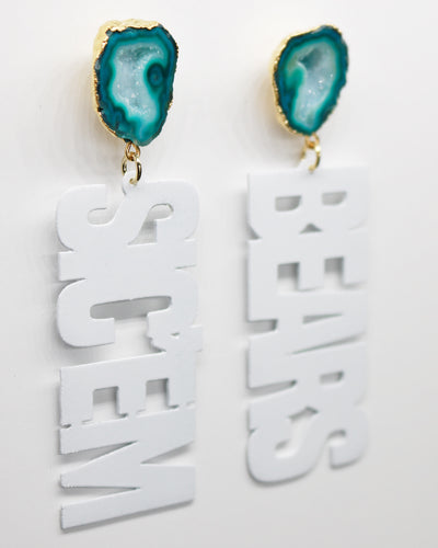 Baylor White SIC'EM BEARS Earrings with Green Geode