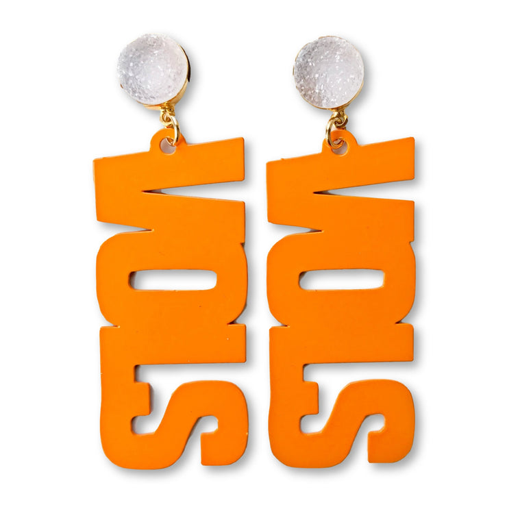 "Tennessee Orange ""VOLS"" Earrings with White Druzy"