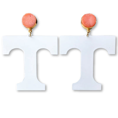 Tennessee White T Logo Earrings with Orange Druzy