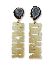 Vanderbilt Gold Tone ANCHOR DOWN Earrings with Black Geode