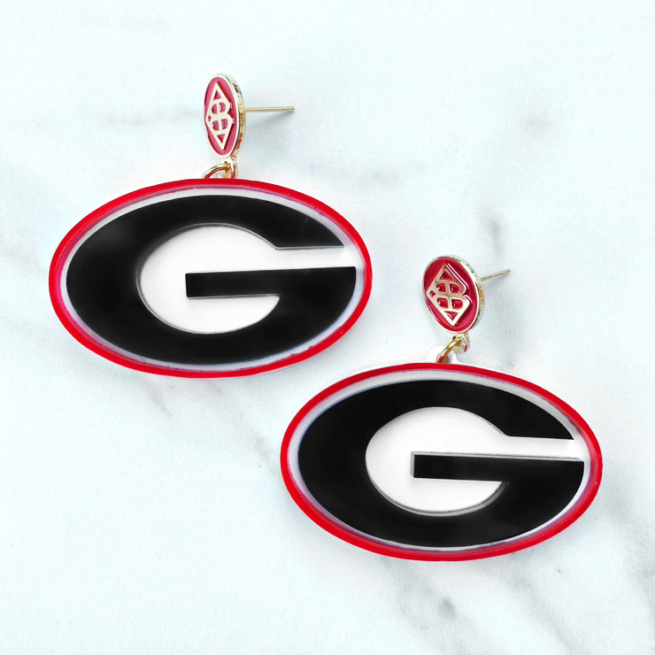 UGA - Georgia Power G Logo Earrings with Red BC Logo Top