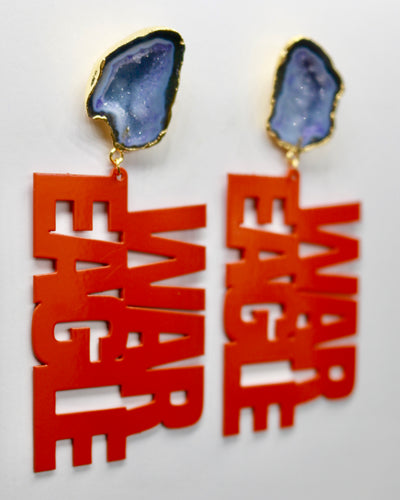"Auburn Orange ""WAR EAGLE"" Earrings with Blue Geode"