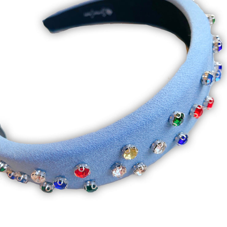 Blue Headband with Multicolor Crystals
