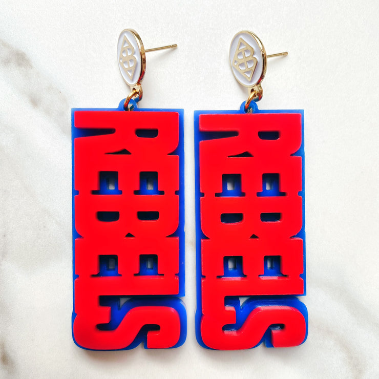Ole Miss - Red REBELS Earrings over Blue with White Logo Top