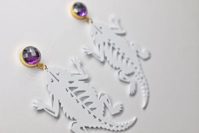 TCU White Horned Frog Earrings with Amethyst